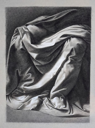 Master copy drawing in charcoal and chalk by student Lanny James