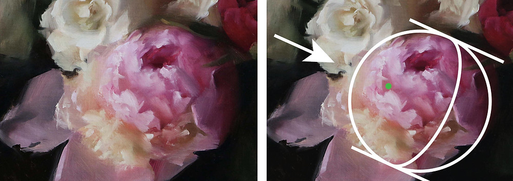 Detail of Peonies and White Roses, oil on linen, 3 hours, by Sadie Valeri