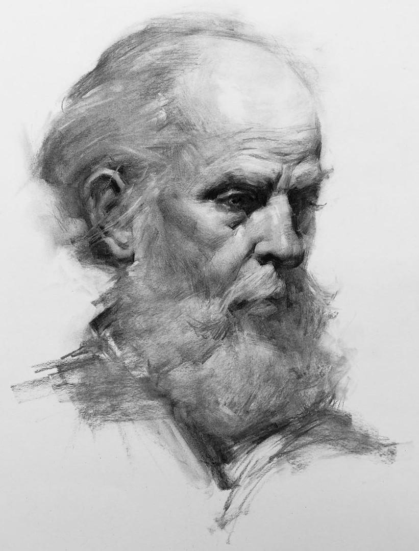 Portrait drawing by Jacob Hankinson - Bearded Man