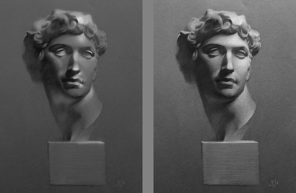 Left image: Too much light in the shadows, too much contrast in areas of interest, too dark in the light areas. Sadie Valeri Atelier