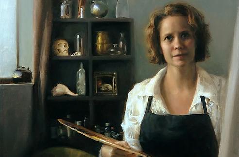 Oil painting by Sadie Valeri - Self portrait