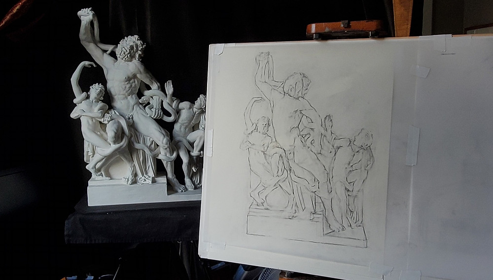 Block-in line drawing of the Laocoon Drawing by Sadie Valeri