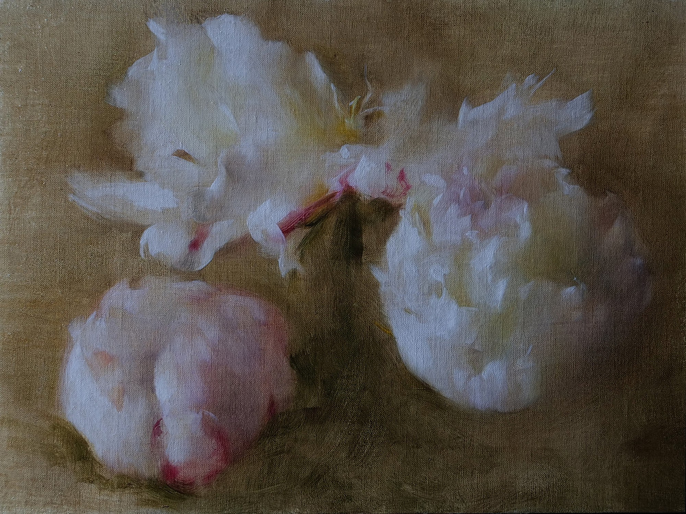 Alla prima oil painting of peonies flowers by Sadie Valeri