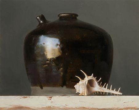 Still Life oil painting by Sadie Valeri | Black Jug with Seashell