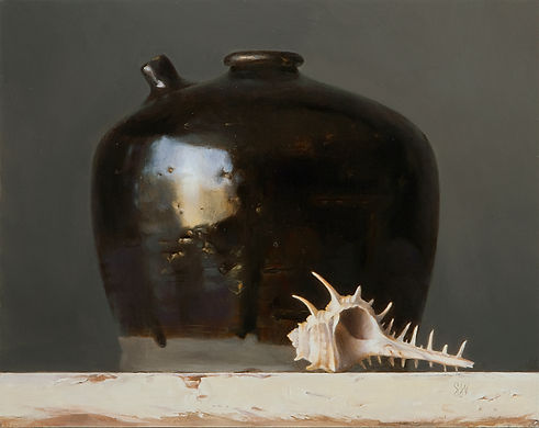 Still Life oil painting by Sadie Valeri | Black Jug with Seashell