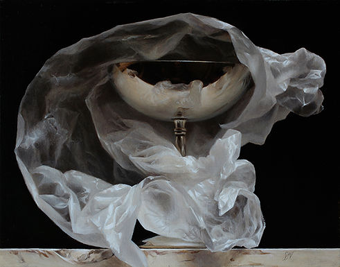 Indirect still life oil painting by Sadie Valeri Wrapped Silver Goblet