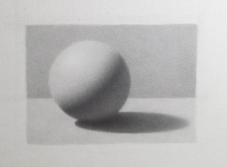 Sphere drawing in graphite by student Harriet Pearson