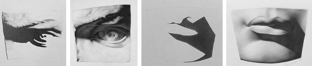 Cast drawings by four different students at different stages, all in graphite, by Connor, Zia, Patricia, Kathleen