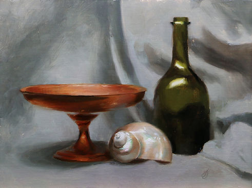Direct still life oil painting by Sadie Valeri of green bottle and shell