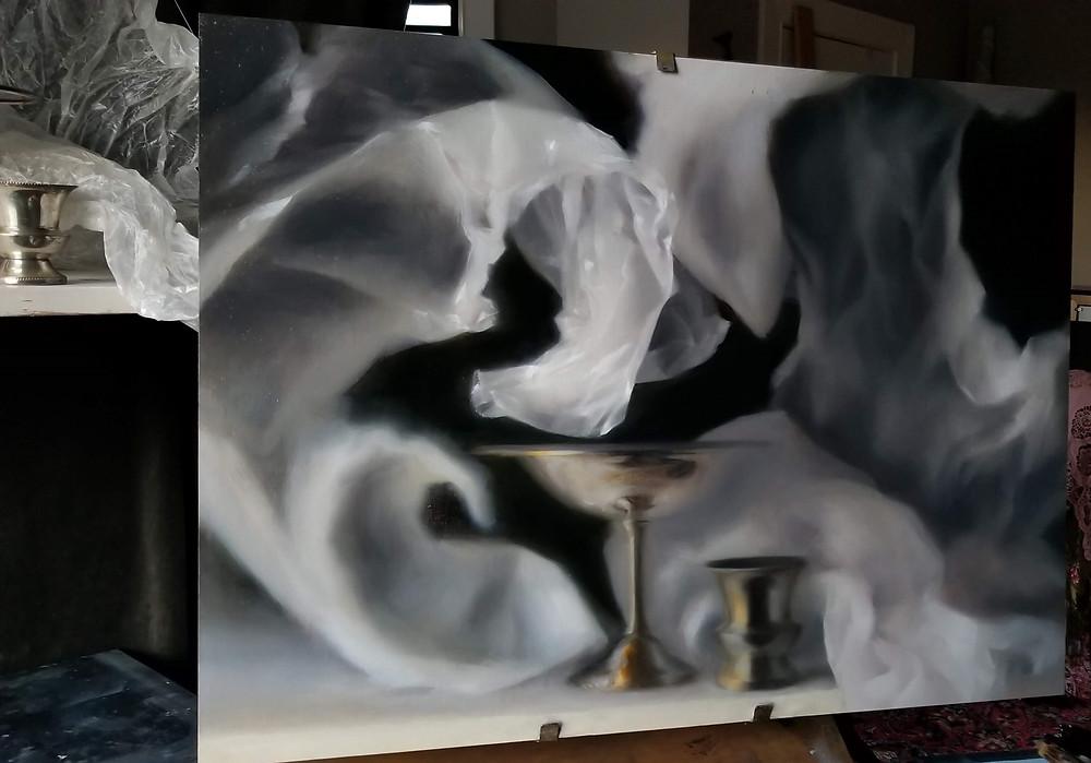 Still Life oil painting (in progress) by Sadie Valeri - Undertow
