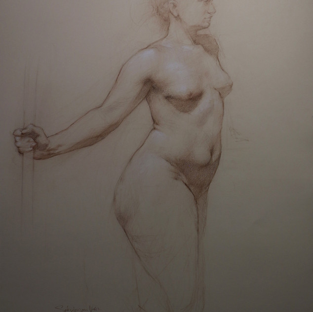 Figure Drawing of Woman with Staff