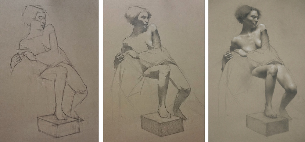 Drawing of Draped Model, charcoal and chalk, 12 hours, by Sadie Valeri