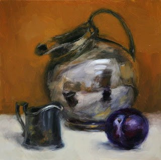 Painting of a silver pitcher and plum