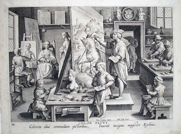 In this engraving from 1580, students are copying the Master artist, drawing sculptures, and painting the live model.