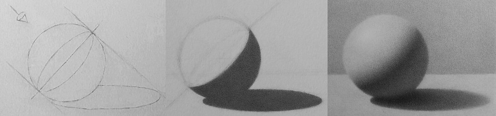 Sphere: Contour, Shape, and Form. Drawing by student Harriet, graphite.