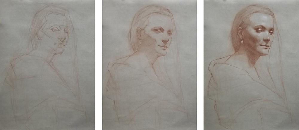 Drawing of Melinda, red pastel pencil and white chalk, 3 hours, by Sadie Valeri