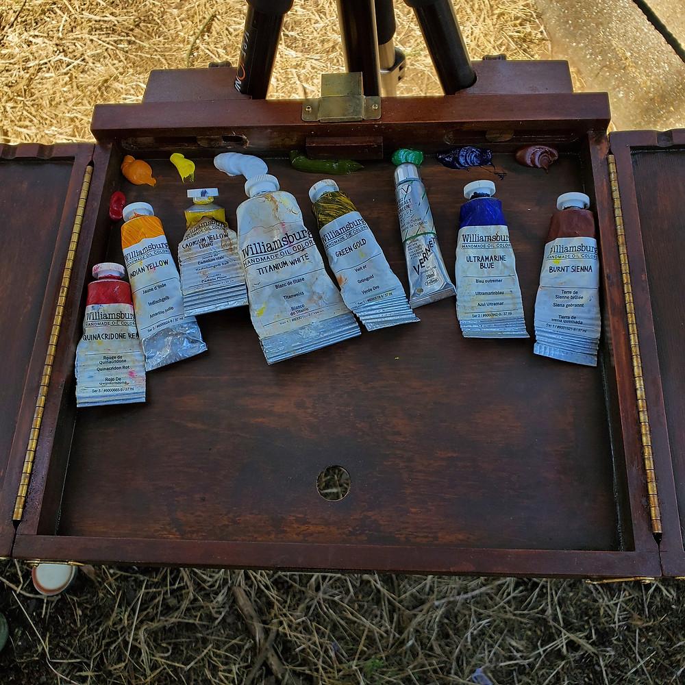Plein air painting setup paints pigments - Sadie Valeri