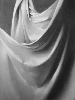 Drawing of Drapery by Sadie Valeri Charcoal and Chalk