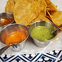 Handmade corn chips and salsa