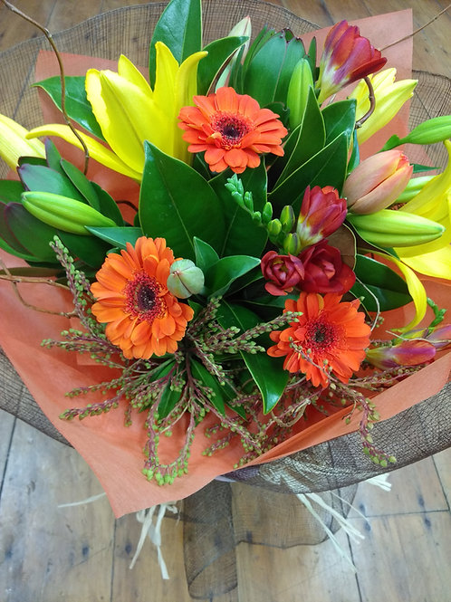 Oranges and lemons-hand tied bouquet