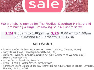 2/24 & 2/25 Pre-Moving Sale Fundraiser!
