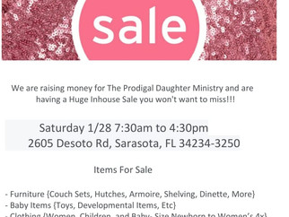 Prodigal Inhouse Sale 1/28                  7:30am to 4:30pm