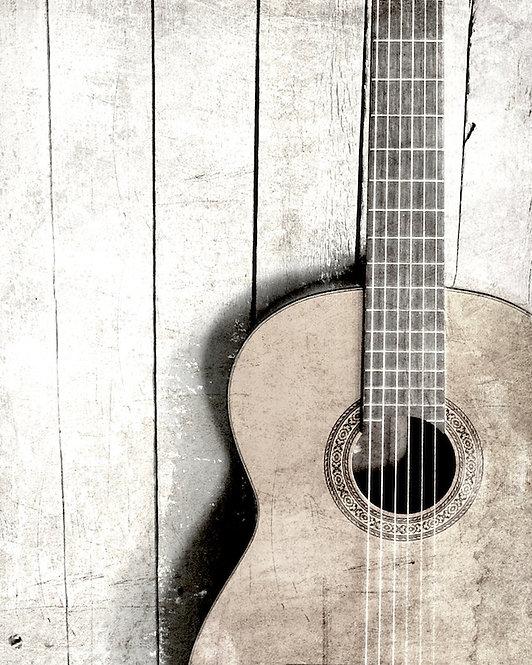 Rustic Guitar Wall Art • Gray Guitar