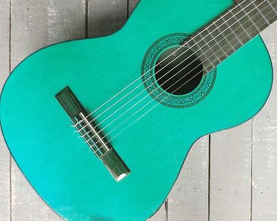 teal acoustic guitar art print