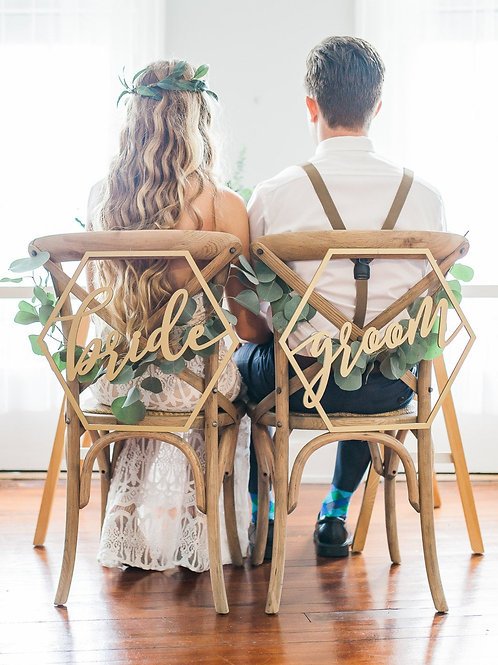 Bride & Groom Holzschilder