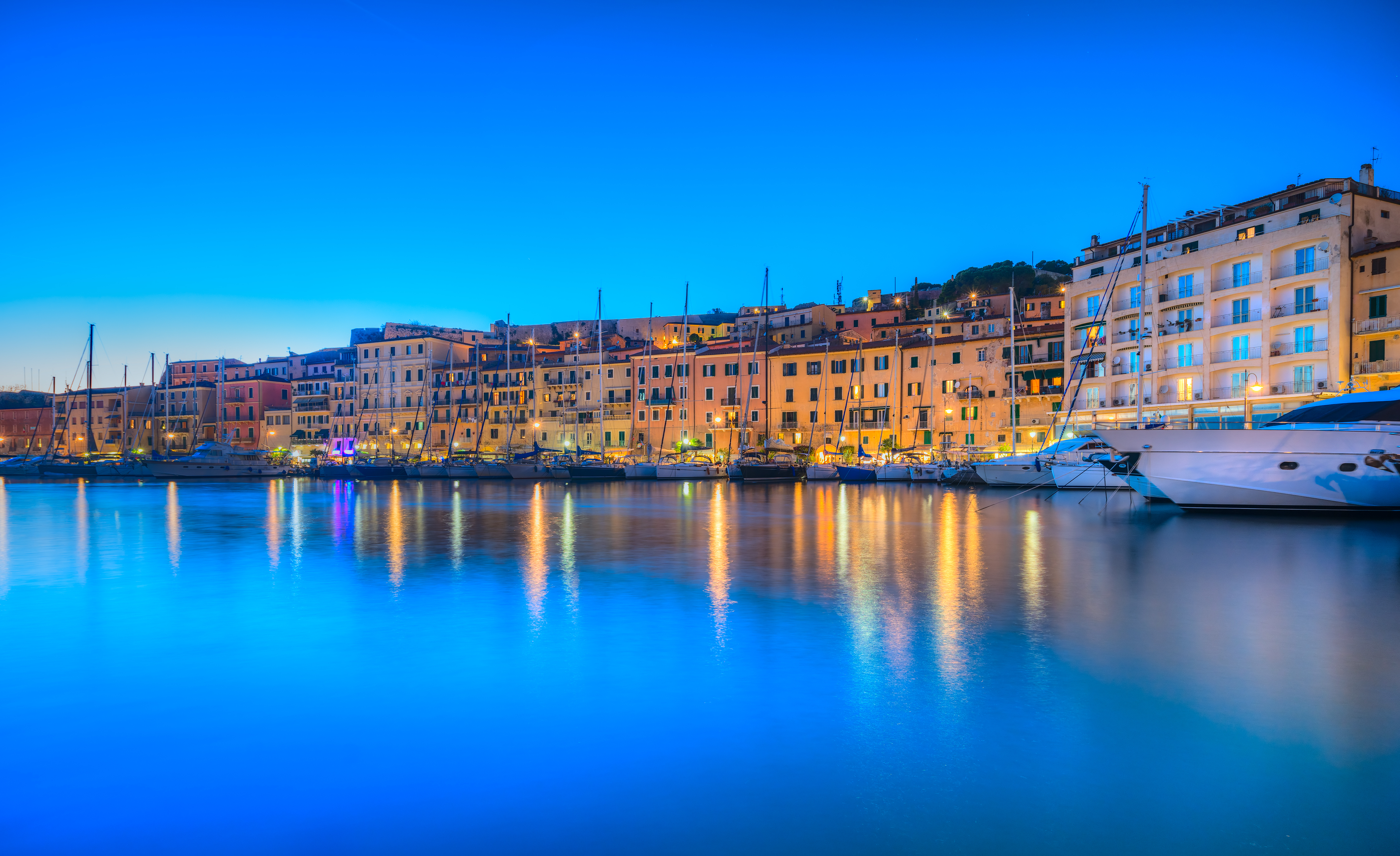 Panoramic view of Portoferraio town at d