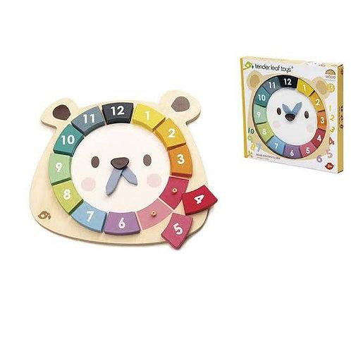 Reloj de madera oso
