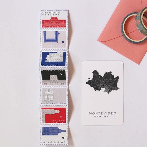 Estampillas + carta Montevideo