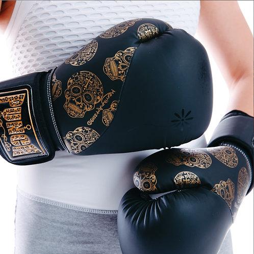 Punch Womens Boxing Gloves - Skull Art Black