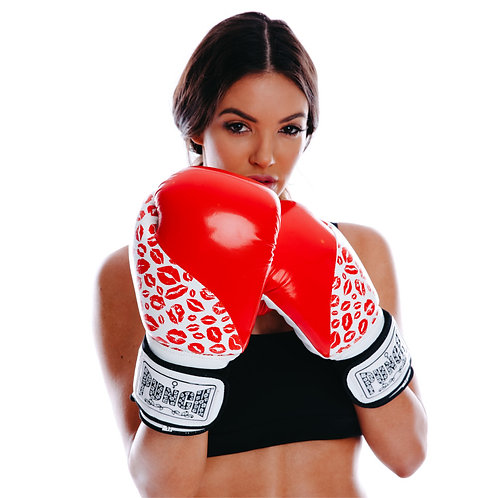 Punch Womens Boxing Gloves - Lip Art Red