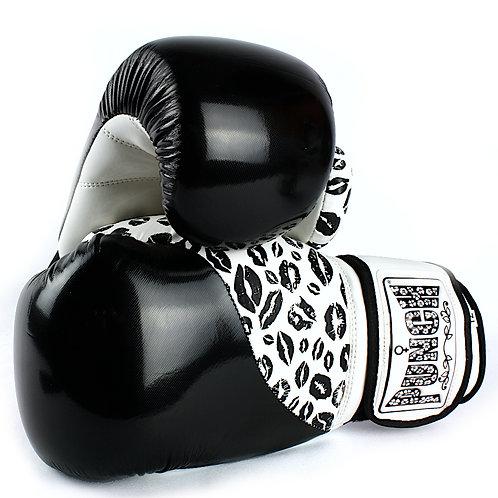 Womens Boxing Gloves - Lip Art Black