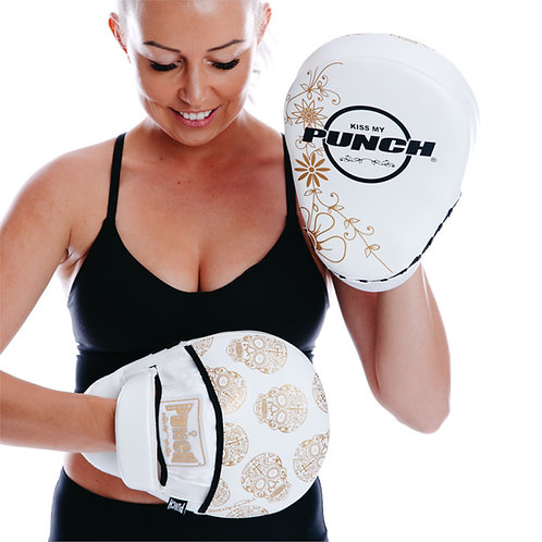 Punch Womens Boxing Focus Pads - Skull Art White