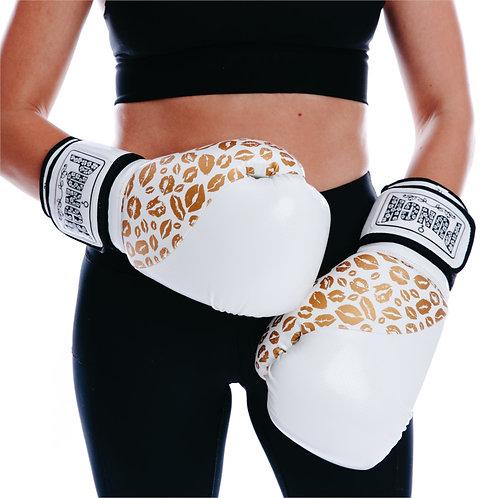 Punch WomensBoxing Gloves - Gold Lip Art White