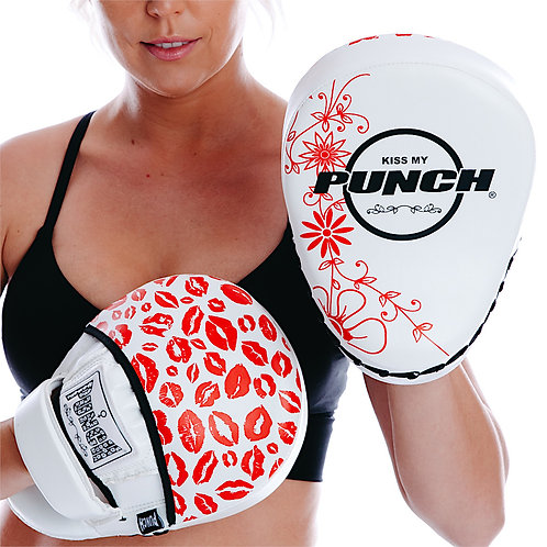 Punch Womens Boxing Focus Pads - Lip Art Red