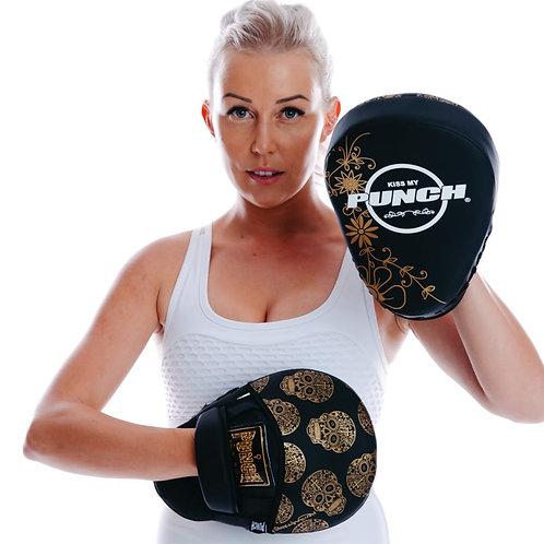 Punch Womens Boxing Focus Pads - Skull Art Black