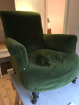 Victorian armchair to be resprung and reupholstered in House of Hackney