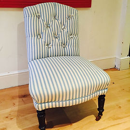 Overly bulbous bedroom chair to be reupholstered in Boeme linen