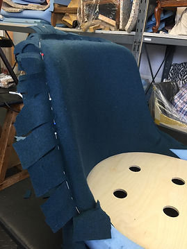 1950s Robin Day plastic chair reupholstered in Tissus D'Helene wool