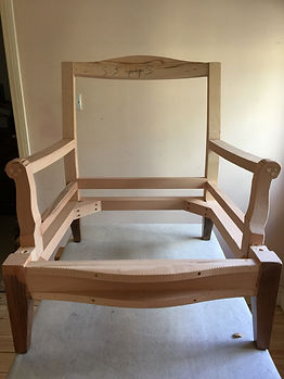 Custom designed frame to be reupholstered in Scottish wool