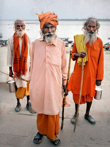 3 Sadhus on the banks of the Ganges; Varanasi, India