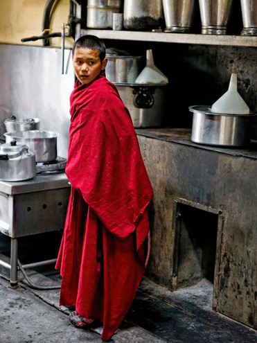 Young Monk in Kitchen; Thicksey Monastery, Ladakh, India