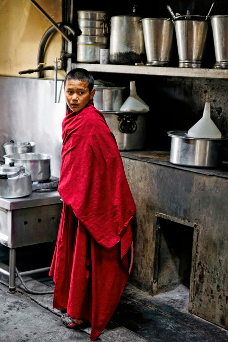 Temple Chores;  A young monk of Thikse Monastery, Ladakh, India