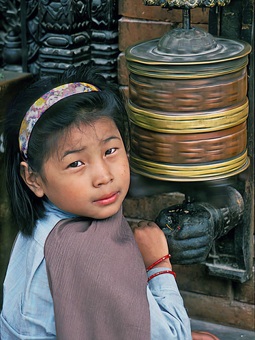 Spinning the Prayer Wheel, Kathmandu, Nepal
