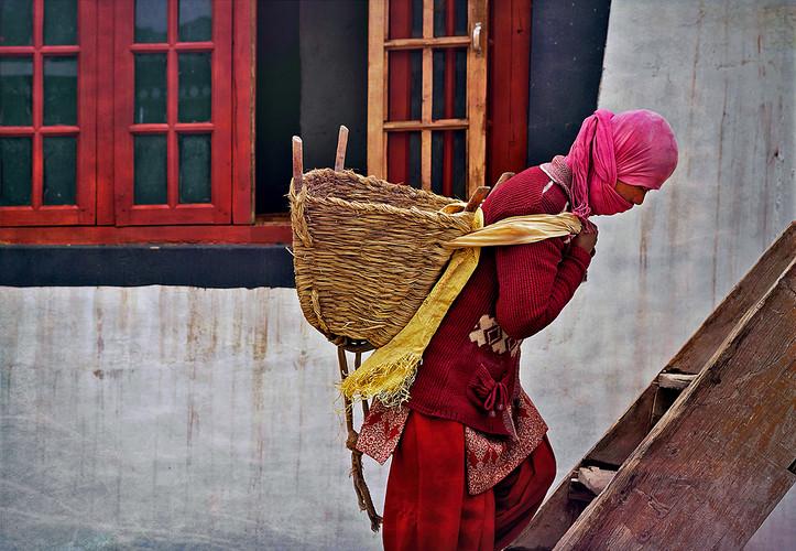 Ladakhi Woman; Buddhist Temple Work