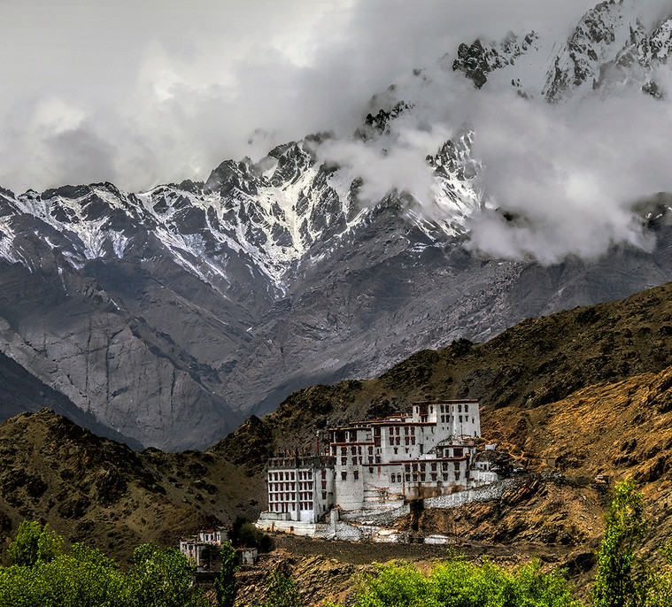 Monastery in valley of the Himalayas