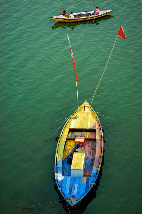 Brightly Painted Traditional Wooden Boat; Gange Rivers, India